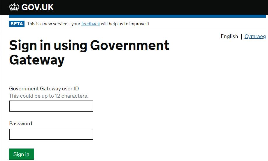 HMRC login Screen